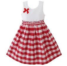 amazon com sunny fashion girls dress red tartan sundress
