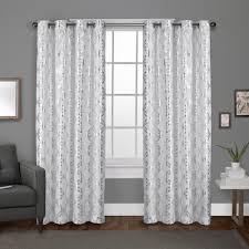 Winter Window Curtains Modo Winter White Metallic Geometric Grommet Top Window Curtain
