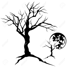 twisted tree design creepy bare branches detailed silhouette