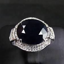 aliexpress buy mens rings black precious stones real sapphire gem ring genuine solid 925 sterling silver