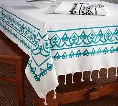 pottery barn table linens yara hand block print tablecloth pottery barn