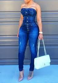 strapless denim jumpsuit blue plain button closure strapless boat neck slim denim
