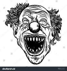 scary clown head concept circus horror stock illustration