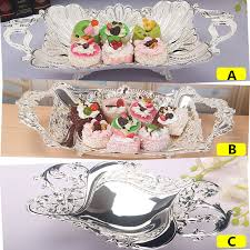 wedding serving trays zhenwen europe style silver plated metal fruit plate cake wedding