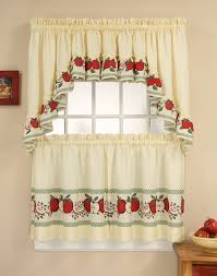 red delicious 3 piece kitchen curtain tier set curtainworks com