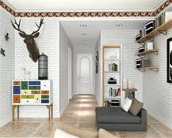 3d Wallpaper For Living Room by Beibehang Mediterranean 3d Wallpaper White Blue Brick Plain