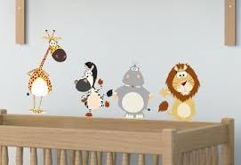 stickers animaux chambre bébé kit de stickers muraux et adhesifs pour déco ambiance savane