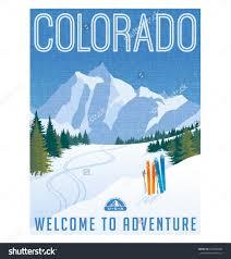 retro style travel poster or sticker united states colorado ski