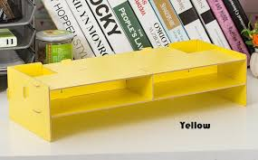 Yellow Desk Organizer New Desk Storage Wood Diy Increase Computer Display Keyboard