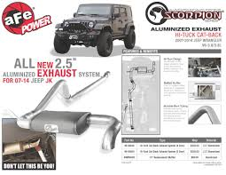 jeep wrangler exhaust systems afe power product scorpion hi tuck aluminized cat back