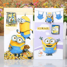 8pcs lot diy cute minions greeting cards 3d pop up with envelope