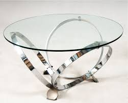 coffee table modern round glass coffee table chrome ring legs