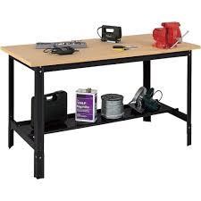 furniture oak wood craftsman workbench with black wrought iron