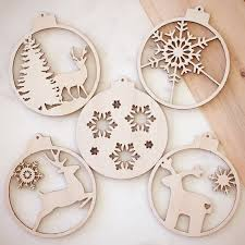 set of 5 various christmas ornaments bauble wood laser cut