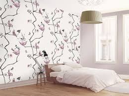 wallpaper with birds watercolour paintings of birds printed onto cream coloured