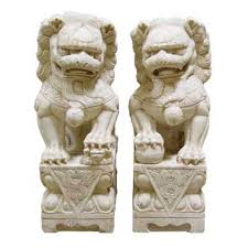 marble foo dogs carved 27in marble foo dogs