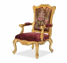 Antique Accent Chair Victorian Ruby Red Embroidered Accent Chair In Antique Gold