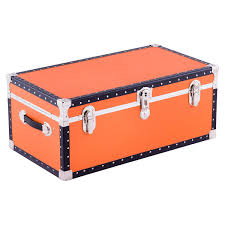 orange footlocker with tray the container store