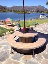 outdoor tables made out of wooden wire spools children s picnic table made from re purposed wire spools stained