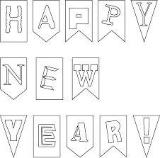 outline of happy new year card banner for kids coloring point