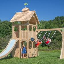 exterior palace shades with wooden swing set and outdoor playsets