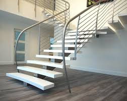 Banister Rail Flat Staircase Design Using Silver Varnished Metal Banister Rail