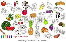 funny colors funny big fruit set be colored vector photo bigstock