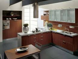Contemporary Walnut Kitchen Cabinets - kitchen modern walnut l shape kitchen cabinet ideas with white