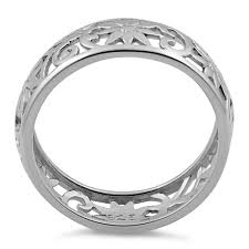 flower band silver flower band ring