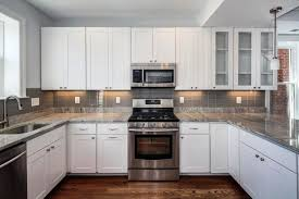Backsplash Tiles For Kitchen Ideas White Subway Tile Kitchen Backsplash U Shaped White Kitchen Design