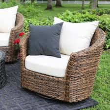 Swivel Outdoor Chair Ae Outdoor Augustine 5 Piece All Weather Wicker Swivel
