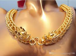 chunky chain charm necklace images Chunky thick chains necklace auspicious dragon pendant fine gold jpg