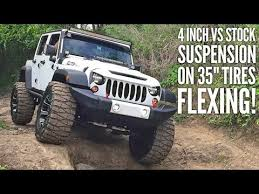 compare jeep wranglers jeep comparison side by side one jeep with lift vs other with no