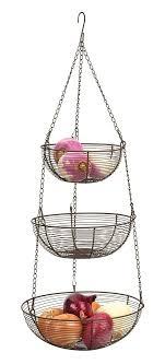 metal fruit basket rsvp internatinal 3 tier hanging wire storage baskets bronze