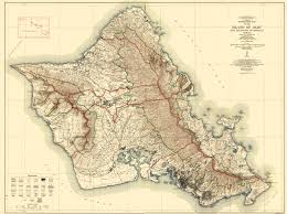 Topographical Map Of United States by Old Topographical Map Oahu Island Hawaii 1938