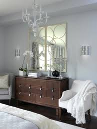 Elegant White Country Bedroom Ideas Wooden Bedroom Dresser Design With Unique Geometric Mirror For