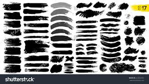 big collection black paint ink brush stock vector 614524352
