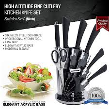 amazon com 9 pc stainless steel kitchen knife block set bonus