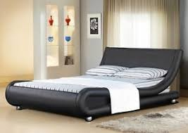 Faux Bed Frames Italian Designer Faux Leather Or King Black White