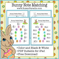 bunny note matching printables in color and black u0026 white susan