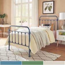 Bedroom Furniture Listers Antique Blue Iron Metal Bed Frame Twin Size Mid Century Farmhouse