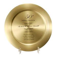50th anniversary plates you can engrave engraved 50th wedding anniversary solid gold brass plate