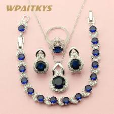 necklace with blue stone images Wpaitkys round dark blue stone silver color jewelry sets for women jpg