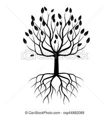 black tree with roots vector illustration vector search clip