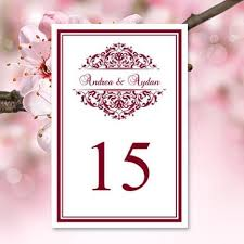 wedding table number template grace burgundy flat wedding
