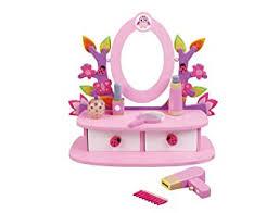 Little Girls Vanity Playset Childrens Kids Wooden Dressing Table Vanity Mirror Set With