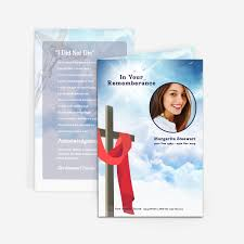 funeral cards cross in clouds funeral card funeral phlets