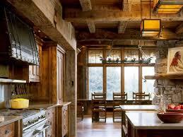 timber stone wall pendant light rustic kitchen cabinets wood beam