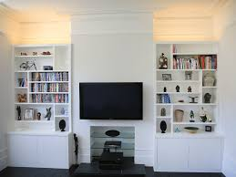 sleek white built in alcove cupboards bespoke furniture fitted
