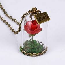 gold red rose necklace images Wholesale red rose crystal wish necklace jewelry pretty girl jpg